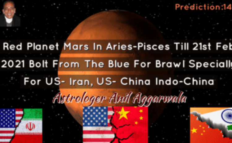 Red Planet Mars In Aries-Pisces Till 21st Feb 2021 Bolt From The Blue For Brawl Specially For US- Iran, US- China Indo-China Astrologer Anil Aggarwala