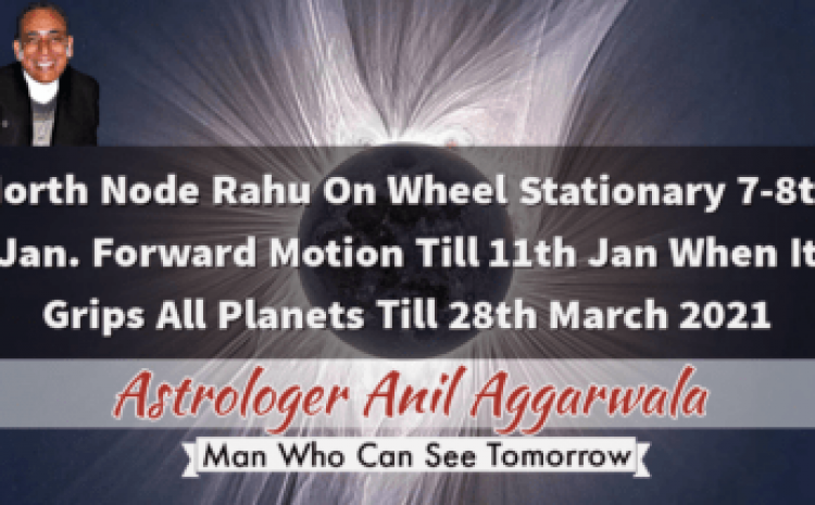 North Node Rahu On Wheel Stationary 7-8th Jan. Forward Motion Till 11th Jan When It Grips All Planets Till 28th March 2021 Astrologer Anil Aggarwala