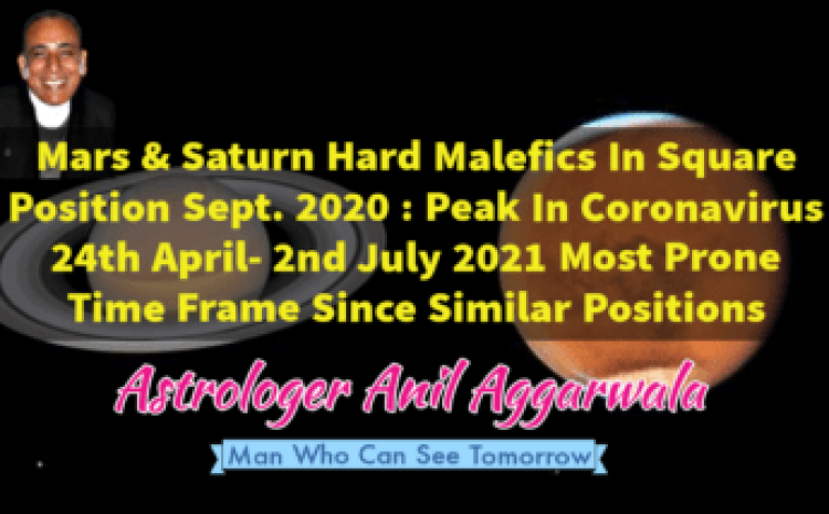 Mars & Saturn Hard Malefics In Square Position Sept. 2020 : Peak In Coronavirus 24th April- 2nd July 2021 Most Prone Time Frame Since Similar Positions Astrologer Anil Aggarwala